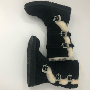 UGG Maddi Black Suede Tall Buckle Boots Girls Sz 3